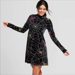 NWOT Halloween Velvet Spiderweb Long Sleeve Dress